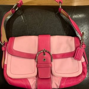 COACH Pink Leather/Fabric Hobo Bag